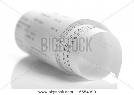 Grocery shopping add list on a till roll printout