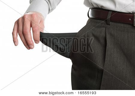 Businessman pulling out his empty pocket in despair