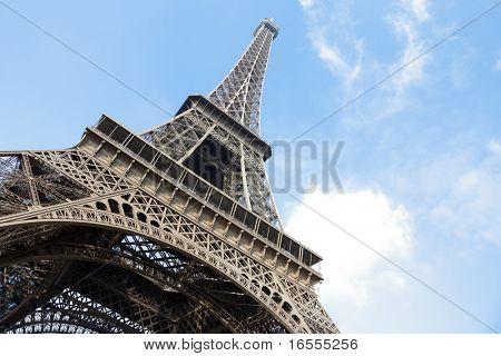 The Eiffel Tower in Paris shot against a blue sky