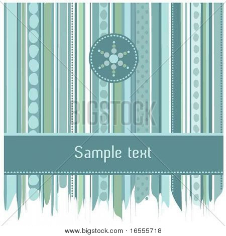 Blue stripes and dots abstract card