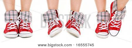 Girl legs in trendy red sport shoes isolated on white
