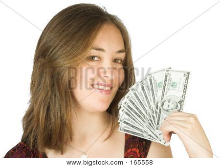Casual Beauty With Dollars On Her Hand