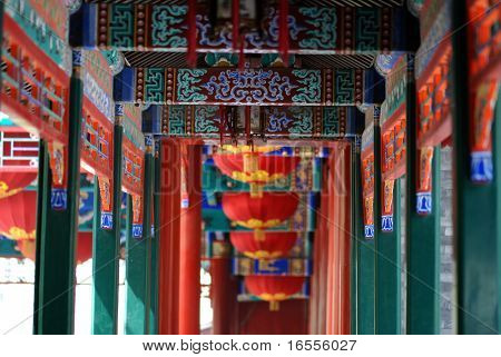 chinese traditional porch in the palace of prince Gong in Beijing