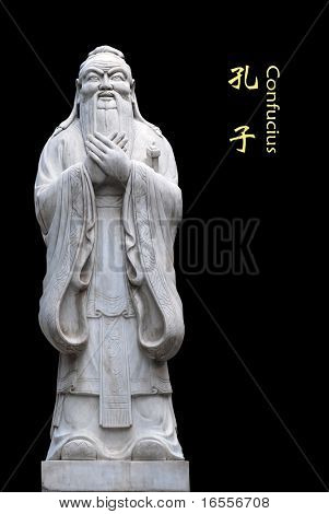 Statue of Confucius in the temple of Confucius in Beijing (isolated in black background)
