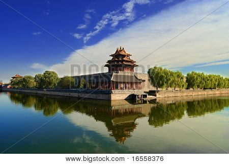 One of the turrets at the corner of Forbidden City,Beijing,China