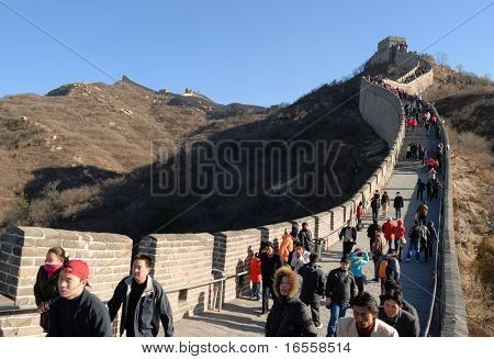 Beijing, China - November 17:Tourists on Badaling Great Wall on November 17th, 2008.