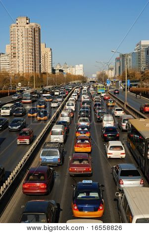 traffic queue at downtown of Beijing,China.