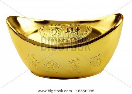 Decoration of Chinese gold Ingot isolated on white