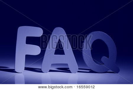 """FAQ"" sign illuminated"