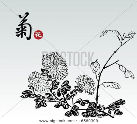 """Vector of Chinese Traditional Pattern--Chrysanthemum,The Chinese Word Means """"Chrysanthemum"""""""