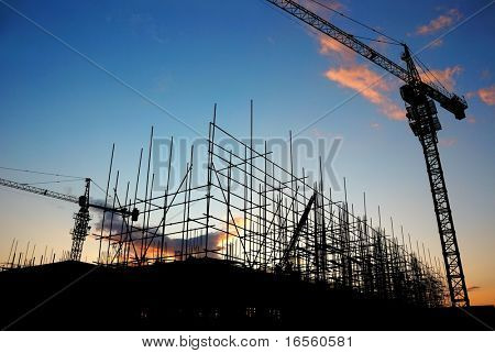 Construction Site at Dusk (or Dawn)