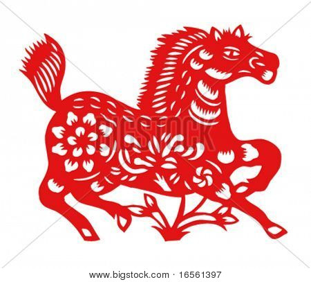 Vector of Paper Cutting Series,Chinese Zodiac Sign(No.7)--HORSE.
