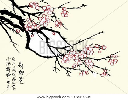 Vector of Chinese Traditional Artistic Plum Blossom Pattern.