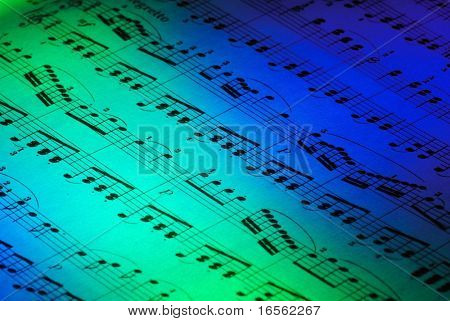 Music sheet with abstract light,Closeup.