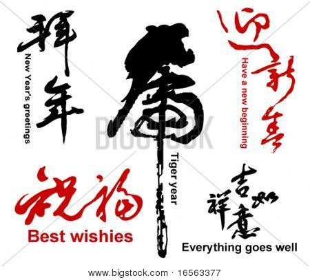 Collection of Chinese Spring Festival Words, 2010 is the Chinese Year of the Tiger.