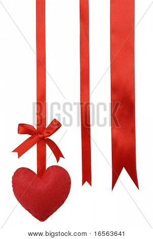 Isolated red heart and ribbon on the white.
