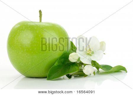 grüner Apfel mit Blumen auf der weiß