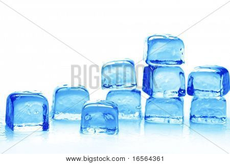 Azure colored ice cubes on reflection surface.