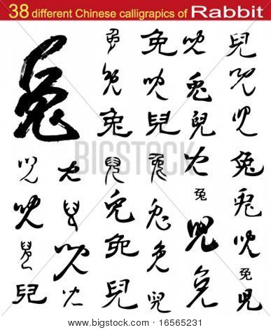 "38 different Chinese calligraphic of ""Rabbit"""