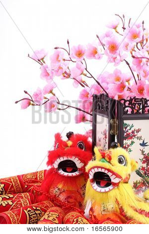 Chinese new year ornament--Traditional dancing lions,firecrackers,screen and plum blossom.