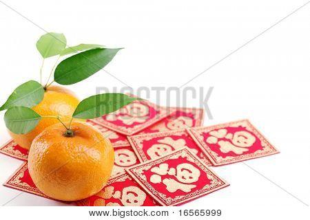 Mandarinen und 'Fu' Charakter, Closeup.