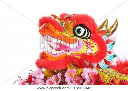 Chinese New Year Decoration--Closeup of Dancing Dragon with Plum Blossom on White.