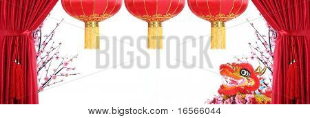 Chinese New Year Decoration--Red Satin Curtain,Plum Blossom,Dancing Dragon and Red Lantern with Copy Space.