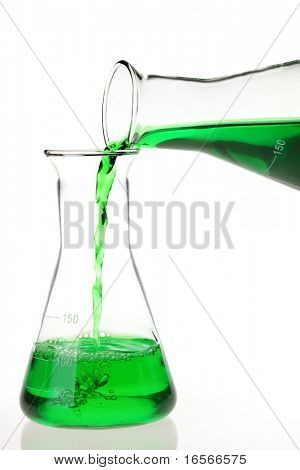 Pouring green solutions to a conical flask