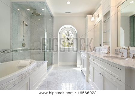 Luxury master bath with bath and glass shower