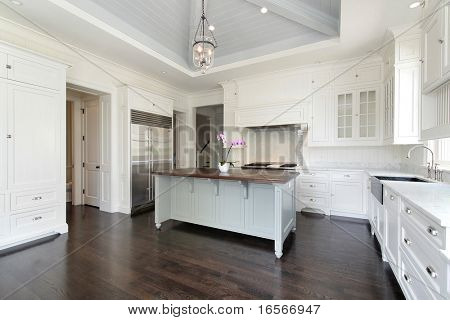Luxury white kitchen with island