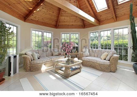 Round porch with wood ceiling