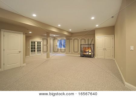 Basement with fireplace in new construction home