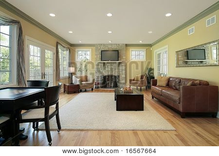 Family room in upscale home