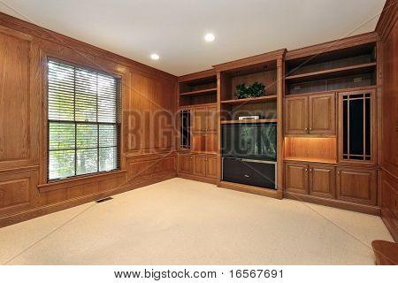 wood paneled family room