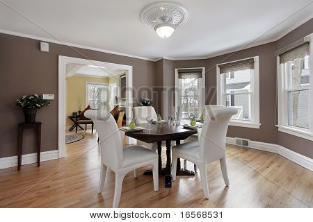 Dining room in suburban home with wall of windows