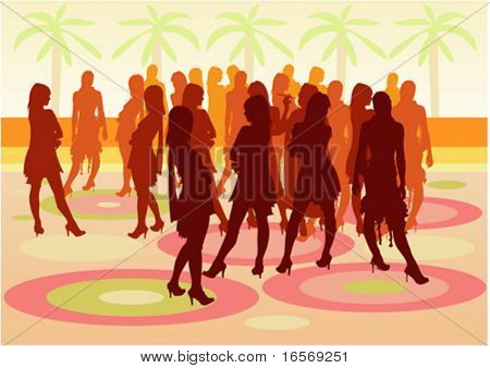 Party people at the open air with silhouettes