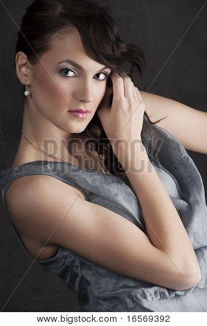 Portrait Woman On Black