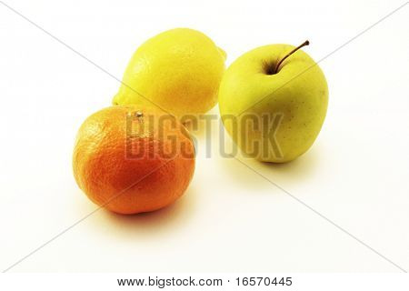 Photo of lemon, apple and orange on white background
