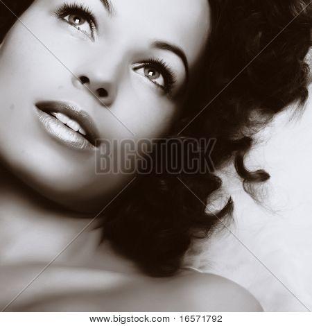 Beautiful woman. Make-up and Beauty
