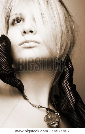 Blonde model posing. Fashion art photo