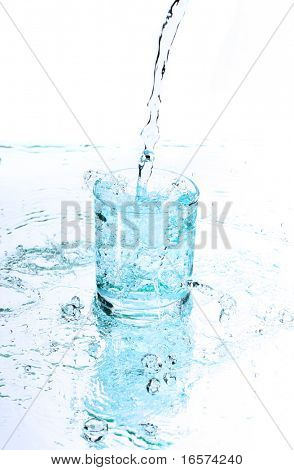 pure water splashing from bottle into glass
