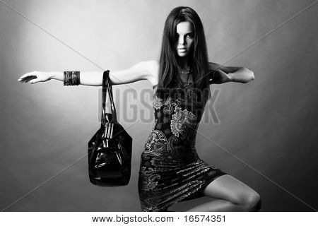 portrait of a girl with a bag