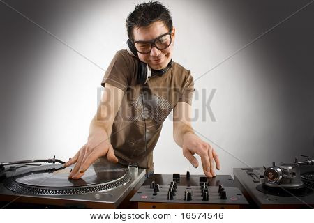 Dj playing disco house progressive electro music