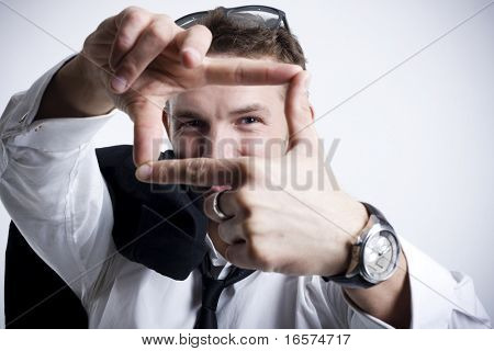 attractive young businessman planning