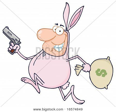 Robber Running In A Bunny Costume