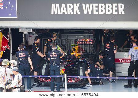 Mark Webber readies for Friday practice