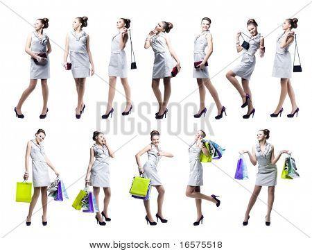 Bela jovem, com sacolas e bolsas. Isolado no fundo branco