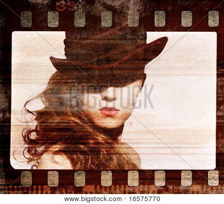 Fotograma de la película de grunge. Retro tiro. Foto de arte moda