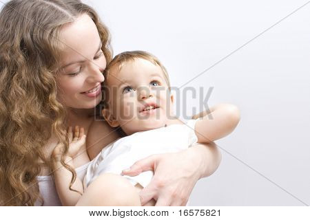 Portrait of mother and child