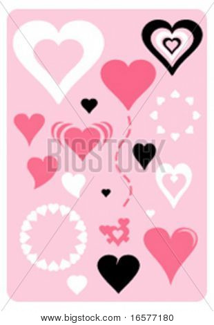 Various hearts in vector format. Scalable and can be colored at will.
